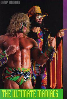 "The Ultimate Warrior & Randy ""Macho Man"" Savage (off the top rope) Wrestling Posters, Watch Wrestling, Wrestling Wwe, Wrestling Costumes, Wwf Superstars, Wrestling Superstars, Ranger, Wwe Wrestlers, Professional Wrestling"