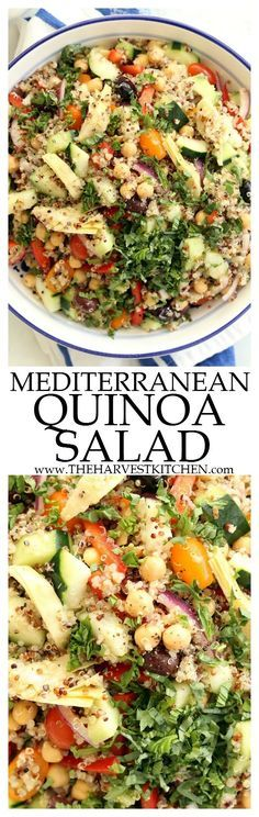 This crowd-pleasing Mediterranean Quinoa Salad is loaded with quinoa, cucumbers, tomatoes, purple onion, red bell peppers, kalamata olives and lots of fresh basil. It makes a delicious light lunch or side salad to serve at barbecues and potlucks. | healthy recipes | | clean eating | | quinoa salad recipes | | gluten free | | vegetarian |
