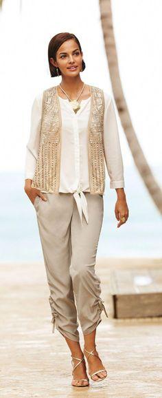 ed67889de57f Sequin Embellished Vest. #DestinationFabulous #travel #spring #chicos  #women'sfashionover40springhair