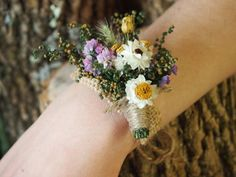 the perfect rustic wedding wrist corsage ~ we ❤ this! moncheribridals.com