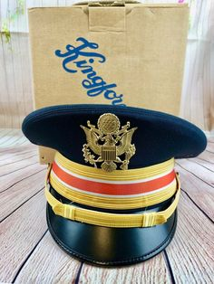 29249ae5392 Details about US Army Officers Signal Corps Dress Blues Hat 7-3 8 With Box  Kingform Brand