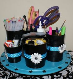 Coley's Corner: Crafty Caddy: So cute! Made from soup cans and yogurt cartons. Great way to organize random things for the classroom!