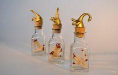 Gold dinosaur glass jar match stick holder. Set of by Plastidermy