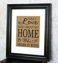Housewarming Gift Print on Burlap  Love Home by 33marketstreet, $20.00
