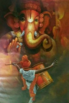 Make this Ganesha Chathurthi 2020 special with rituals and ceremonies. Lord Ganesha is a powerful god that removes Hurdles, grants Wealth, Knowledge & Wisdom. Lord Ganesha Paintings, Ganesha Art, Krishna Art, Shri Ganesh, Baby Ganesha, Ganesha Tattoo, Baby Krishna, Krishna Painting, Hanuman