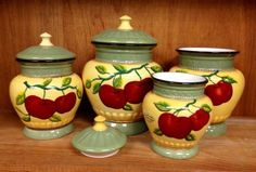 Apple Harvest 4pc Deluxe Canister set by TICO. $49.99. you are buying A 4PC CANISTER SET. MADE FROM FINE CERAMIC. DELICATE HAND PAINTED. EXCELLENT FINISH TO MAKE IT SHINE IN YOUR KITCHEN/DINNING SET AREA. Harvest Apple Collection. OUT OF STOCK  YOU WILL BE BUYING ONLY THE 4PC CANISTER (ALL OTHER ITEMS ARE NOT OFFERED OR INCLUDED WITH THIS SALE, WE ARE WORKING ON TAKING THE PICTURES SEPARATE  * LOTS OF DETAIL ON EACH ITEM * APPLES ARE PAINTED IN FRONT /BACK OF E...
