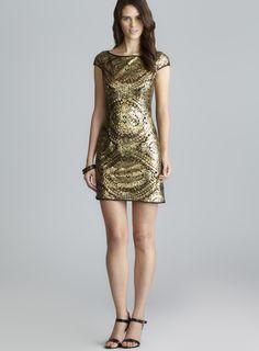 Cap Sleeve Metallic Sequin Shift Dress