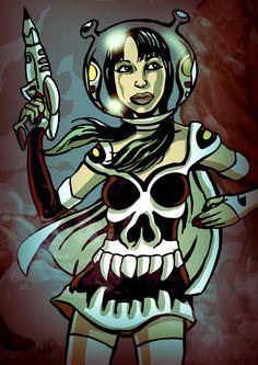 CAROLINA SPACEGIRL, based on my friend artist illustrator @carolinameilin #beautifulwomen #illustration #juanfaundez #artist #spacegirl #spacewoman #art #artwork #digitalpaint #ink #illustrator