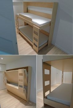 """New meaning to the dreaded command, """"Go make your bed. New meaning to the dreaded command, """"Go make your bed. Murphy Bunk Beds, Bunk Bed Plans, Murphy Bed Plans, Kids Bunk Beds, Murphy Etagenbetten, Woodworking Projects Plans, Teds Woodworking, Woodworking Classes, Carpentry Projects"""