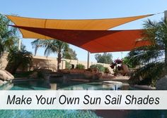Sun Sail Shade DIY Project | A sun sail shade is a beautiful way to add color and shade to your yard. Make and customize sun sail shades with this tutorial.