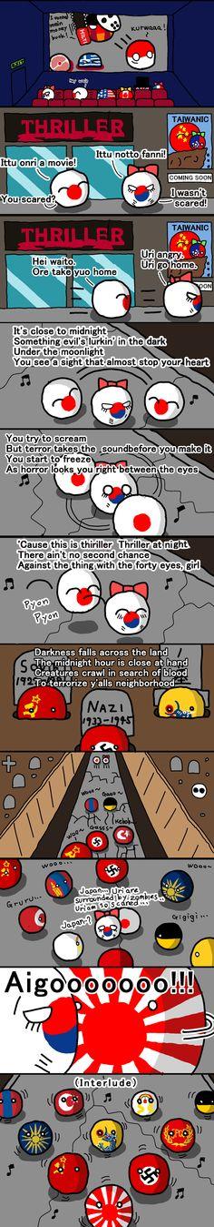 Michael Japason:Thriller ( Japan, South Korea ) by icisimousa  #polandball #countryball
