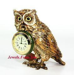 JAY STRONGWATER EXCLUSIVE CLOCK & HOO OWL FIGURINE LTD 350 SWAROVSKI NEW $1200