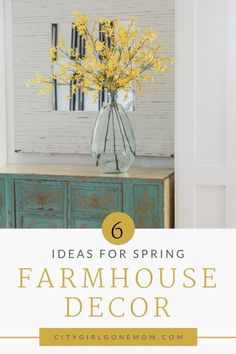 Spring Farmhouse Decor Ideas.  Simple and gorgeous tips for bringing Spring into your home on a budget.  These easy DIY home decor ideas will bring a fresh look into your living room, kitchen, bedroom or even entryway.  These tips show how to use inexpensive, strategically placed pieces to give your home the rustic look you love, while still keeping it fresh and light! #Farmhousedecor #homedecor #DIYdecor #decorideas #SpringDecor