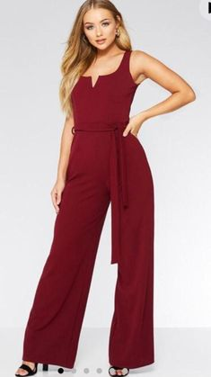 e8d7dfd616be Stunning Quiz Burgundy Wine Wide Leg Stretchy Sach Tie Waist Jumpsuit Size 6   fashion