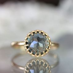 Rose Cut Blue - Green Sapphire In 14K Yellow Gold Engagement Ring - Ready To Ship. $540.00, via Etsy.