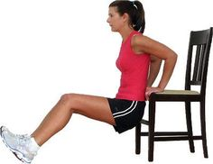 Underarm Flab -- Triceps respond fast to exercise and fat loss, which means that you could see a change here in just a few weeks with chair dips.    1.Sit on a bench or chair.  2.Begin with the hands next to or slightly under the hips.  3.Lift up onto the hands and bring the hips forward.  4.Bend the elbows (no lower than 90 degrees) and lower the hips down, keeping them very close to the chair. Keep the shoulders down.  5.Push back up without locking the elbows and repeat for 10-16 reps.