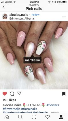 Pink flower rose nails Nailart, Rose Nails, Flower Nail Art, Nail File, Spring Nails, Fun Nails, Nail Colors, Pink Flowers, Acrylic Nails