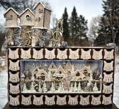 Advent Calender with Bird Houses - Rachelle Sigurdson. Stunning example of Dusty Attic product and amazing technique...