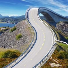 Atlantic Road, a 5 mile highway linking islands in Norway, it has eight bridge, and an area along the ocean where fierce winds & massive occur during a storm