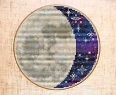 Moon Cross Stitch Pattern Modern Cross Stitch Starry Night sky Cross Stitch Space Galaxy Embroidery Celestial Cross Stitch PDF Hoop art DIY