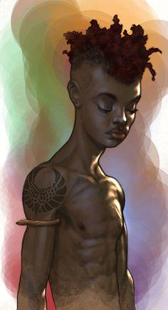 shadowrun; male; human; black-skinned; youth; black-haired; dreadlocks