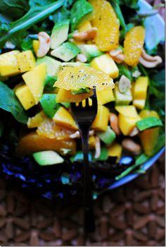 mango, orange, and avocado spring salad