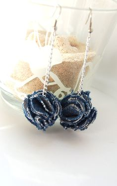 denim pom pom earrings flower