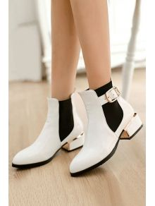 Buckle Elastic Stone Pattern Short Boots