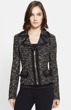St. John Collection Metallic Tweed Knit Moto Jacket