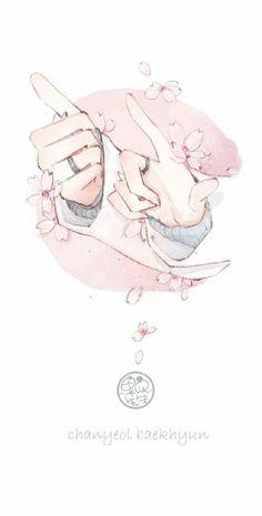 Chanbaek Fanart, Kpop Fanart, Baekyeol, Pretty Art, Cute Art, Aesthetic Art, Aesthetic Anime, Illustrations, Illustration Art