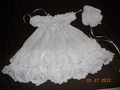 heirloom christening dress crochet pattern | finished the christening dress and the bonnet ! Isn't this the most ...