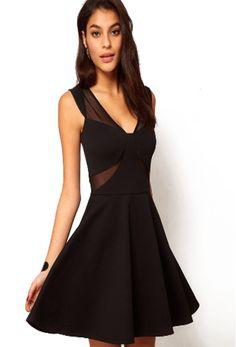 Black V Neck Sleeveless Contrast Sheer Dress $MXN299.12