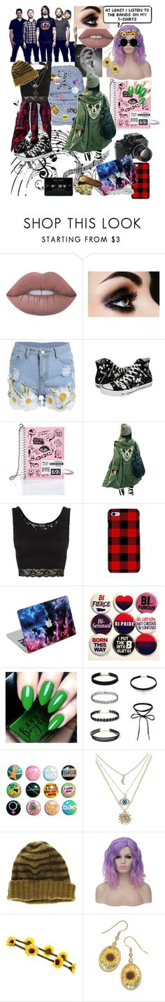 """""""Foo Fighters"""" by moonlillie ❤ liked on Polyvore featuring Lime Crime, Converse, Current Mood, Topshop, Samsung, Nikon, Madewell, Accessorize and Retrò"""