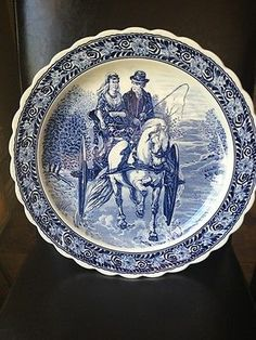 """Blue White Wall Charger Platter Plate Man Woman Horse Carriage Ride Large 16"""" 
