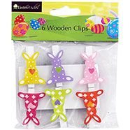 Easter Wooden Bunny Clips - Pack Of 6