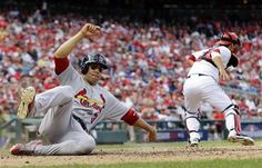 Game 3 of the NLDS- Beltran slides into home to score a run  10-10-12