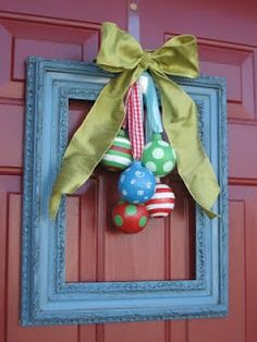 Paper mache ornaments by Blue Cricket Design. So fun and I love how they are being displayed.