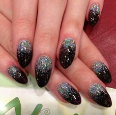 Black almond nails with glitter ombre