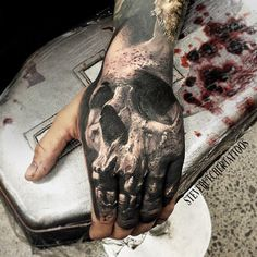 Realistic Skull Tattoo by Steve Butcher | Tattoo No. 12972