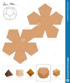 Illustration about Platonic solids. Template of a dodecahedron with wooden texture to make a paper model out of the triangle net. Illustration of collection, geometrical, samples - 128430185 paper Concrete Crafts, Concrete Art, Geometric Origami, Geometric Art, 3d Paper Crafts, Paper Art, Platonic Solid, Paper Models, Diy Art