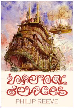 Based on Infernal Devices by Philip Reeve    I wanted to stay within the retro posters theme (the Mortal Engines cover was inspired by an Abram Games meisterwork) and I went for the pastel shades of a 30s seaside poster for this'n.