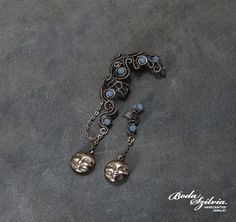 FULL MOON   OOAK wire wrapped ear wrap with post by bodaszilvia, $55.50
