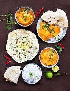 Božské máslové kuře s jogurtovými plackami. S návodem krok za krokem! - Proženy Saveur, Naan, Fajitas, Curry, Food And Drink, Menu, Ethnic Recipes, Indie, Asian Recipes