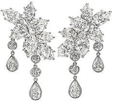 2013 Luxury Jewelry Collection; Harry Winston - Caftan Cluster Diamond Drop Earrings