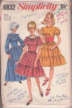 MOMSPatterns Vintage Sewing Patterns - Simplicity 6832 Vintage 60's Sewing Pattern YEE HAW! Rockabilly Tiered Skirt Puff Sleeve Square Dance Dress, Party or Prairie Costume Styles, Sun Bonnet Hat & Waist Cincher Belt
