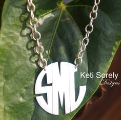 Modern Letters Monogram Initials Necklace with Large Chain - Small to Large Sizes (order your initials) - Silver, yellow or Rose Gold