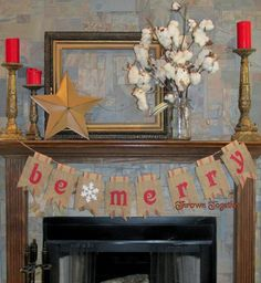 Christmas Banner BE MERRY with White Snowflake by ThrownTogether