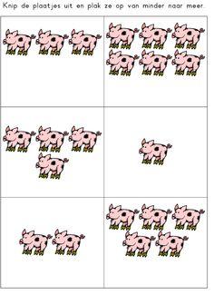 Werkblad rekenen: meer/minder varkens