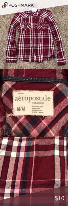 Aeropostale Flannel Medium Like new plaid flannel. Maroon, navy, pink, and white. Aeropostale Tops Tees - Long Sleeve