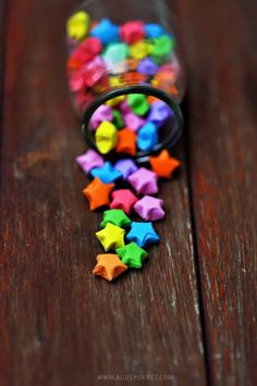Rainbow DIY Paper Project Torn From The Sky – DIY Fold Lucky Paper Stars